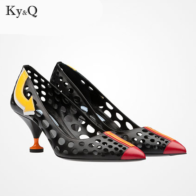 2018 Summer New Fashion White Black Genuine Leather Shoes Women Pumps Sexy High Heels Point Toe Cut Out  Lady Party Sandals2018 Summer New Fashion White Black Genuine Leather Shoes Women Pumps Sexy High Heels Point Toe Cut Out  Lady Party Sandals