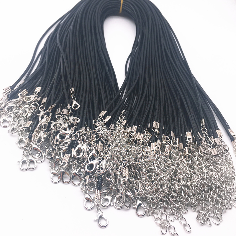 5pcs 2mm Black Leather Cord Wax Rope Chain Necklace Extender Chain Lobster Clasp DIY Jewelry Accessories