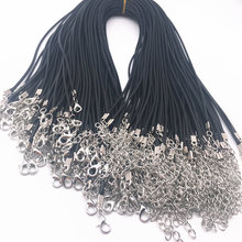 5pcs 2mm Black Leather Cord Wax Rope Chain Necklace Extender Chain Lobster Clasp DIY Jewelry Accessories(China)