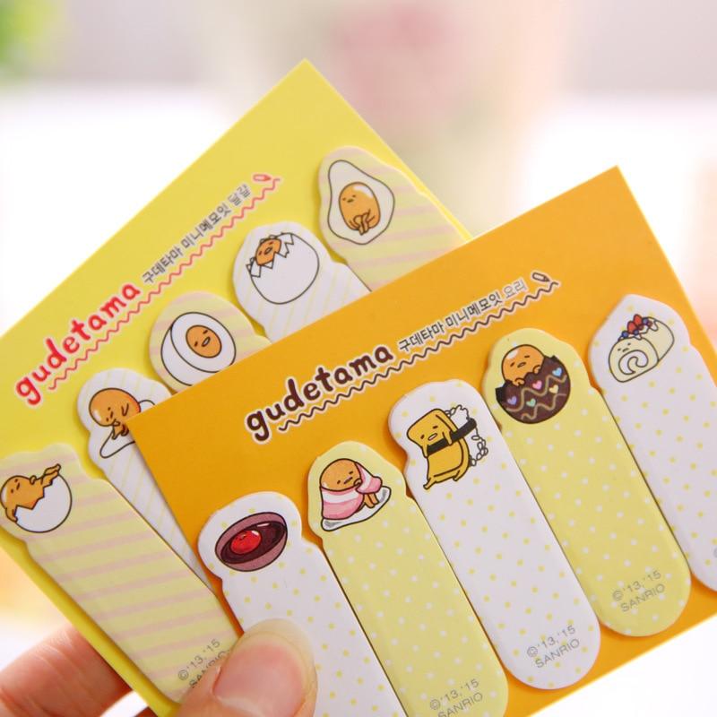1 PCS New Creative Lovely Cartoon Gudetama Lazy Egg Self-Adhesive Memo Pad Sticky Notes Post Bookmark School Office Supplies