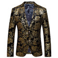 2016 New Arrival Men Suit Autumn Fashion Design Golden Floral Printed Mens Slim Fit Blazer Suit Jacket Men Brand Terno Masculino