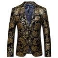 2016 New Arrival Men Suit Autumn Fashion Design Golden Floral Printed Mens Slim Fit Blazer Suit Jacket Men Brand Terno Masculino
