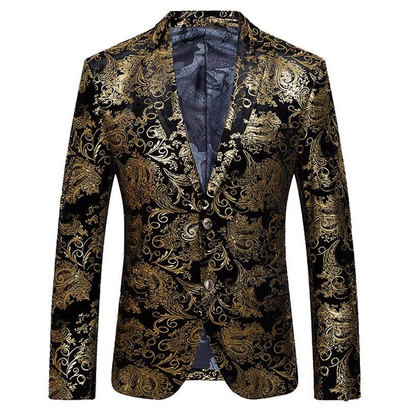 2017 Neue Ankunft Männer Anzug Herbst Mode-design Goldenen Blumen Gedruckt Herren Slim Fit Blazer Anzugjacke Männer Marke Terno Masculino
