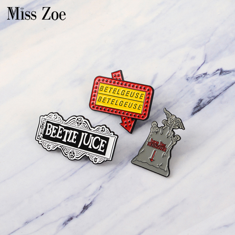 Charitable Beetlejuice Enamel Pin Thriller Comedy Badge Brooch Lapel Pin Denim Jeans Shirt Bag Gothic Punk Movie Jewelry Gift For Friends By Scientific Process Jewelry & Accessories Brooches
