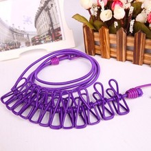 1pc1.852m Portable Outdoor Windproof Clothesline Drying Clothes Hanger With  12 Metal Clips Rope Line Camping Supplies 1866CL