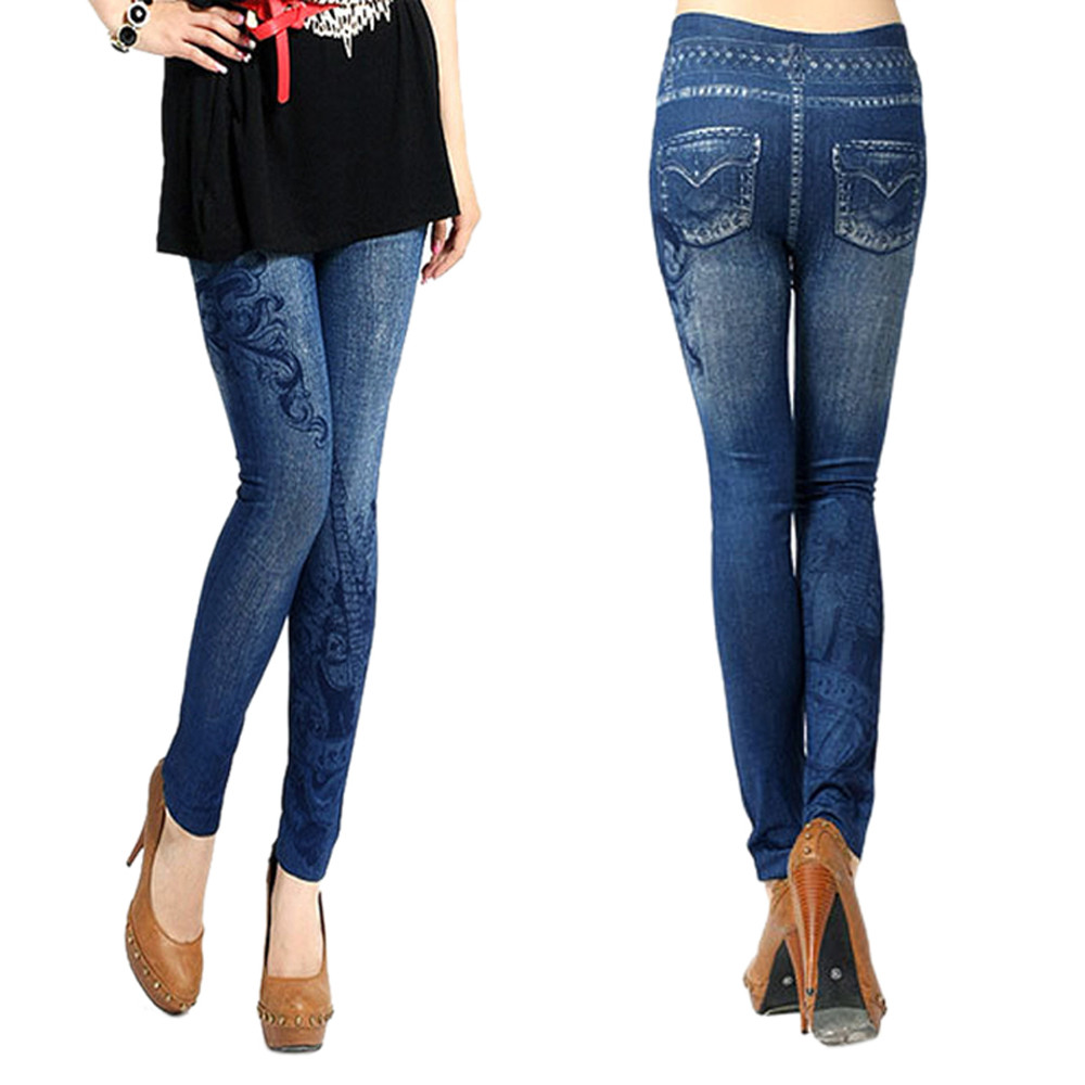 Sexy Women Denim Skinny Jeggings Stretchy   Leggings   High Waist Printing Pencil Pants Modis Fashion Workout Leginsy For Ladies