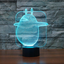 Color Changing Desk Lamp Touch Button 3D Led Night Light Cute My Neighbor Totoro Style Table Lamp for Baby Sleeping Light fairy tale mermaid princess 3d lamp 7 color led night lamp for kids touch remote usb table lamp baby sleeping night light