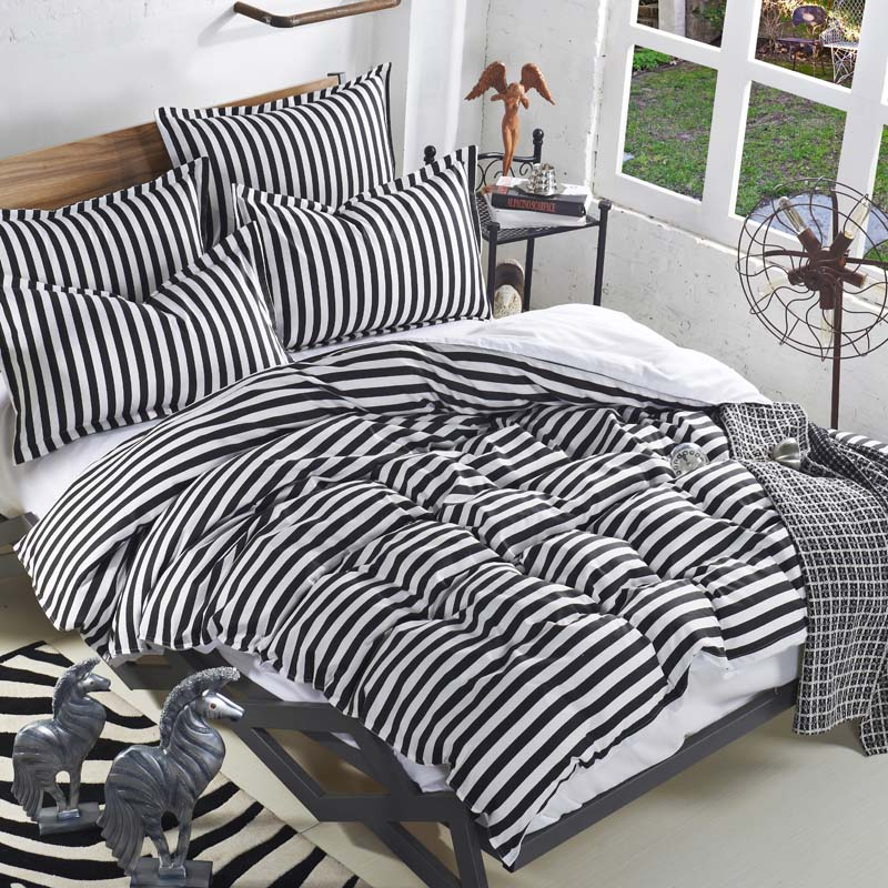 striped black and white bedding sets leopard 3pcs/4pcs twin queen full blue  and white