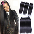 Brazilian Virgin Hair Straight With Closure 3 Bundles Brazilian Straight Hair With Closure 7a Unprocessed Cheap Human Hair Weave