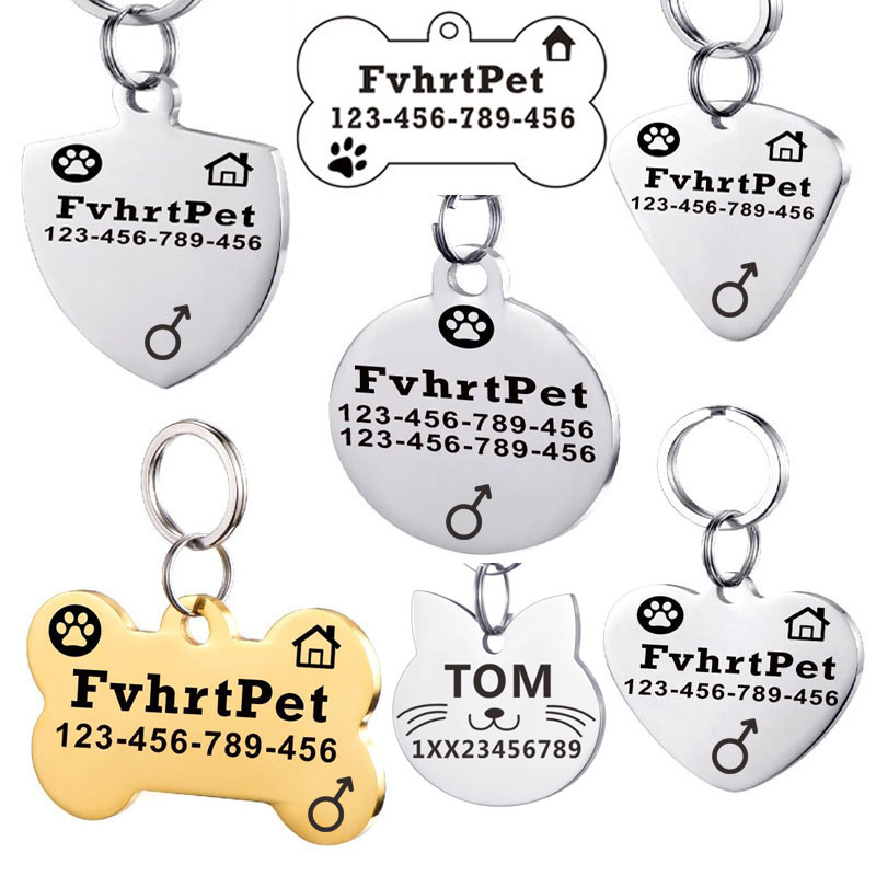 Stainless Steel Custom Dog Id Tag For Dog Collar Accessories Pet Id Tags Personalized Dog Tag Telephone Name Tag Free Engraved
