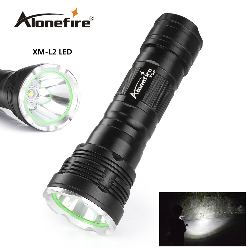 Alonefire X160 CREE XM-L2 LED High power lighting flashlight torch for 18650 or 26650 Rechargeable batteries