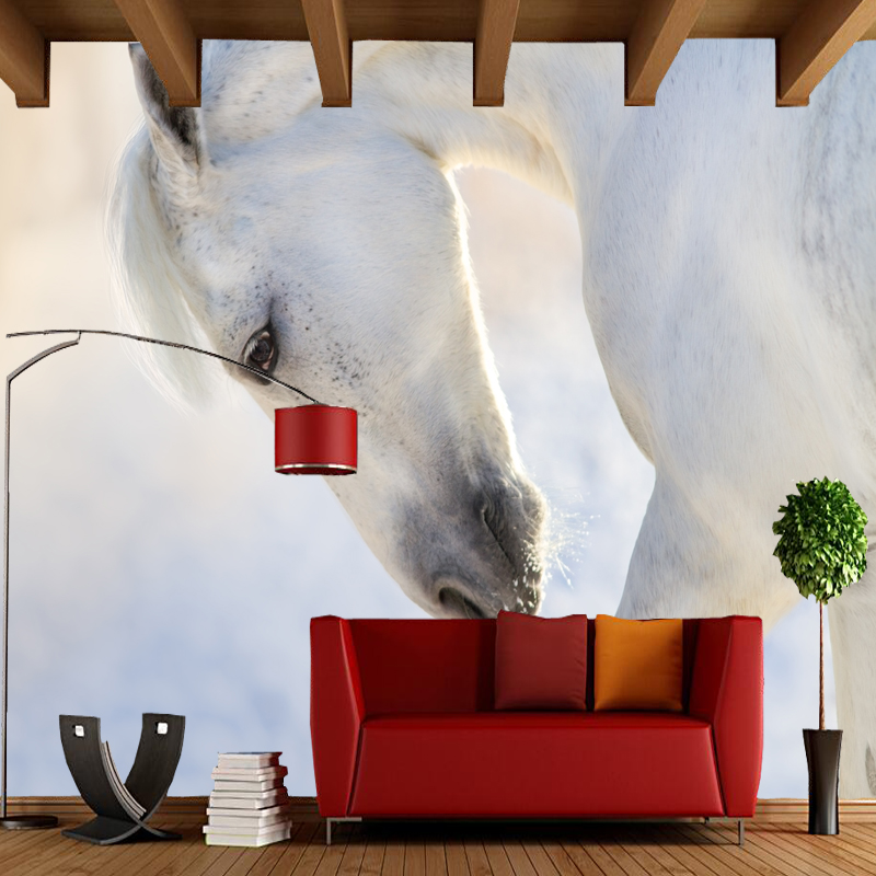 3D modern wallpaper, white horse head close-up, natural landscape murals for living room sofa backdrop vinyl papel de parede custom green forest trees natural landscape mural for living room bedroom tv backdrop of modern 3d vinyl wallpaper murals