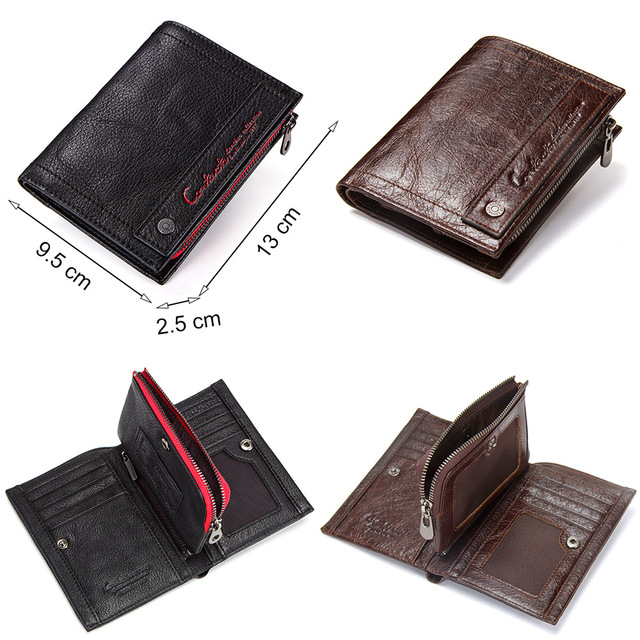 CONTACT'S new genuine leather men's wallet short coin zipper pocket card holder male walet slim man's purse small portemonnee 5