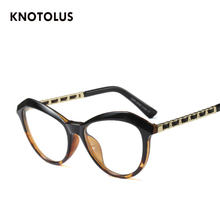 Knotolus Big Frame Retro Óculos Cateye Mulheres Espetáculo Óptico Quadro  Lente Clara Óculos de armação oculos de grau feminino 9d3d472022