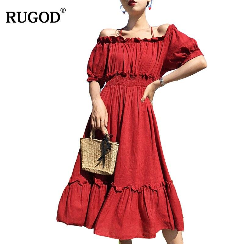 Aliexpress.com : Buy RUGOD 2018 Summer Fashion Off Shoulder Big Ruffle Hem Pleated Dress Party ...