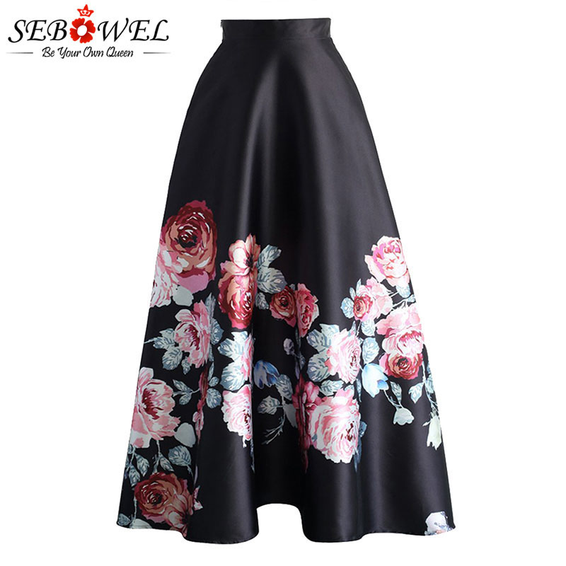 SEBOWEL Floral Print High Waist Maxi Skirt Womans Elegant Ladies Long Flower Pleated Vintage Skirts 2020 New Style Female Skirts image