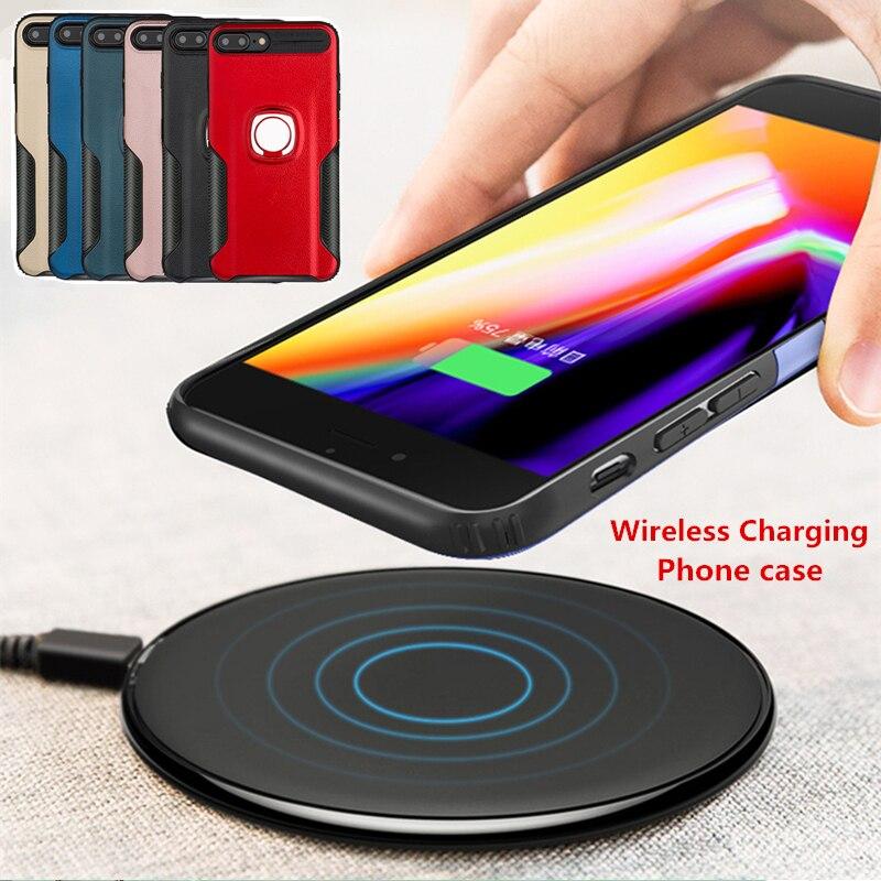 Senza fili di Ricarica Cassa Del Telefono Per Huawei P20 Lite Honor V10 7X Magnetico Anello di Metallo Della Copertura Posteriore Per il iphone 6 6 s 7 Più OPPO R11 R15
