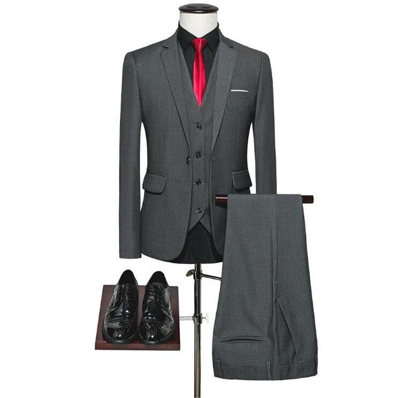 (Пиджаки + жилет + брюки) из чистого хлопка костюм с пиджаком бренд Для мужчин Бизнес Однотонная повседневная обувь тонкий пальто брюки мужск...