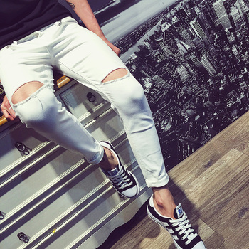 New 2020 Fashion Casual Men Slim Fit feet pants white Hip Hop Teenagers Solid Beggar knee ripped hole jeans Ankle Length Pants new arrival background fundo painting white horse stables 7 feet length with 5 feet width backgrounds lk 2344