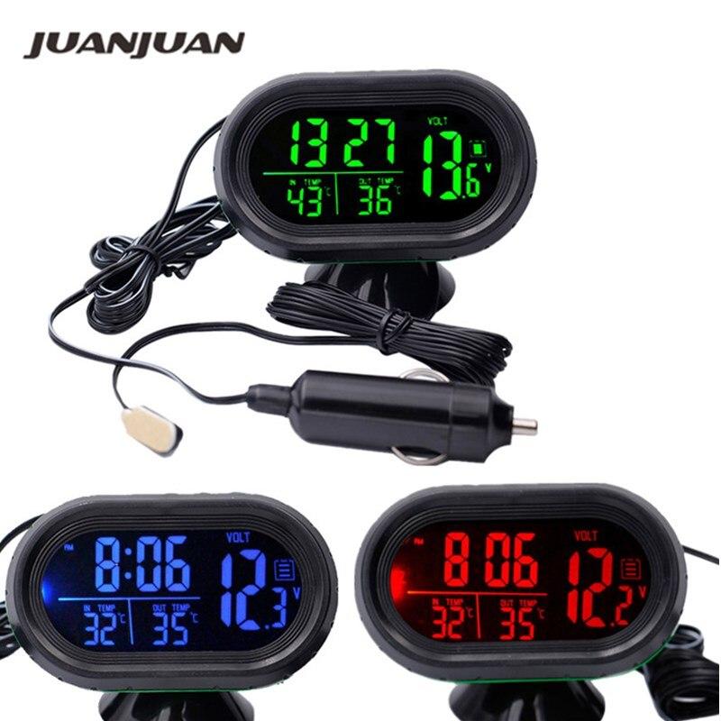 Digital Auto auto Thermometer Auto Batterie Voltmeter Spannung Meter Tester Monitor 12 v/24 v Noctilucous Uhr Einfrieren Alarm 10% von