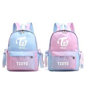 Холщовые школьные сумки Kpop TWICE Momo Mina с градиентным цветом, рюкзак для ноутбука Kawaii, рюкзак для путешествий, розовый рюкзак Mochila Feminina, 2019