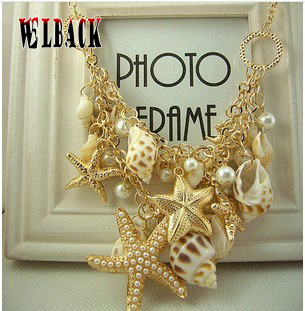 WELBACK 2020 New Summer Beach Necklace Starfish Conch Pearl Shell Multielement Ladies Pendant Necklace Holiday Accessories Gift
