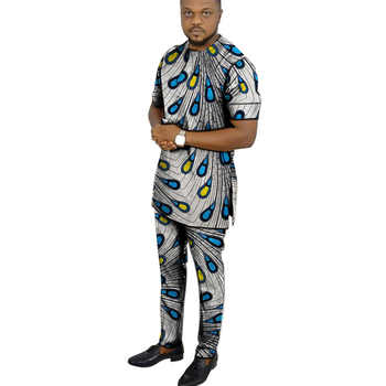 African clothing men\'s print set short sleeve shirt with trouser Ankara fashion pant sets customize wedding male formal outfits