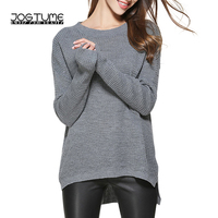 Amoyblue 6 Colors Knitted Sweater Shirt Women Knitwear Gray Casual Long Sleeve Sweater 2017 Autumn Pulovers