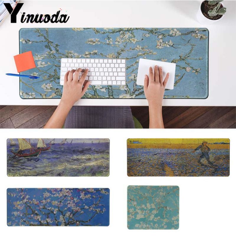 Yinuoda Van Gogh oil painting flower boat Laptop Gaming Mice Mousepad Size for 30x90cm and 40x90cm Gaming Mousepads