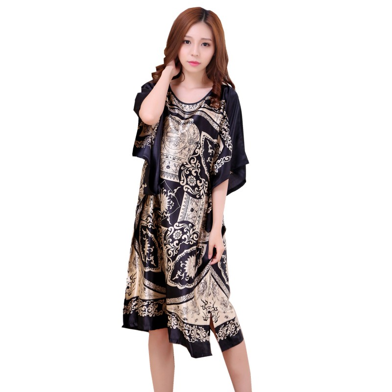 New 2018 Womens Plus Size Black Summer Lounge Rayon Nightgown Large Loose Bating Sleeve Sleepwear Robe Lady Sexy Home Dress