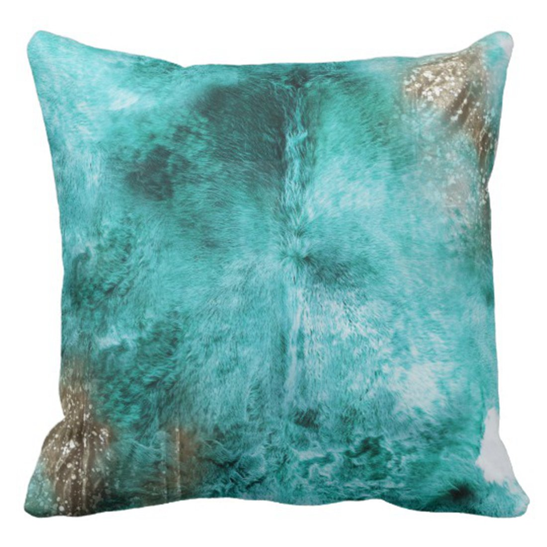 Throw Pillow Cover Turquoise Brown and White Exotic Cowhide Print ative Pillow Case Tribal Home Square 18x18