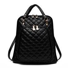 Тиснение PU Для женщин рюкзак моды многофункциональный Леди хозяйственная сумка Девушка Рюкзак Черный