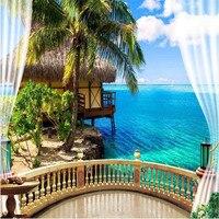 3d Large Wall Mural Wallpaper HD Balcony Window Beach Sea Hut Holiday Backdrop Custom Silk Photo