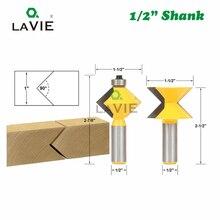 """2 sztuk 12MM 1/2 """"Shank 90 stopni V projekt Tingue rowek do oklejania krawędzi Router Bit zestaw płyta łączenie do obróbki drewna frez 079"""