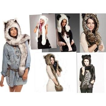 2019 invierno nueva moda Animal cálido invierno Faux Fur Hat bufanda mullido felpa Cap Hood bufanda chal con guantes Dint PC191
