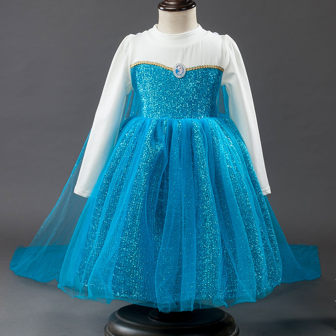 Lovely Cartoon Halloween Costume Blue Tutu Tulle Detachable Caped Princess Elsa Kids Par ...