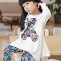 2016 Baby Kids Girls Long Sleeve Irregular Hem Bear T Shirt Flower Pants Outfits