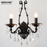 Classic Crystal Wall Sconces Light Fixture Clear Black Crystal Wall Bracket Bra Light Small Cristal Lustre Lighting for Home