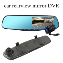 """4.3"""" inch dual lens Car Rearview Mirror DVR dash Camera 140 degree wide viewing angle Video Recorder Camcorder registrator"""