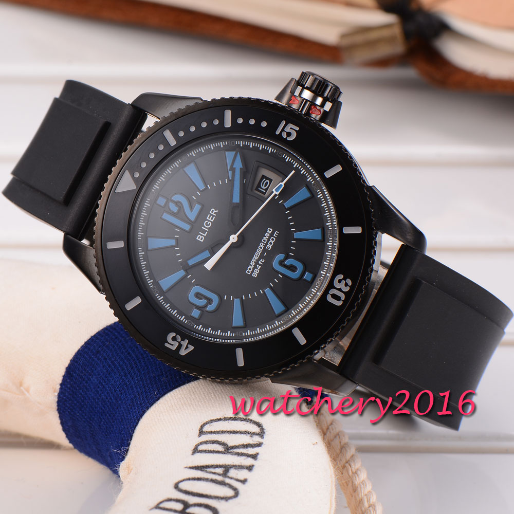 43mm Bliger mineral crystal black dial PVD case blue marks date miyota Automatic movement Mechanical Wristwatches Men