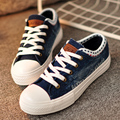 Free Shipping  Fashion Canvas Shoes Lacing Casual Shoes Low-top Denim Outdoor Shoes  Size35~39