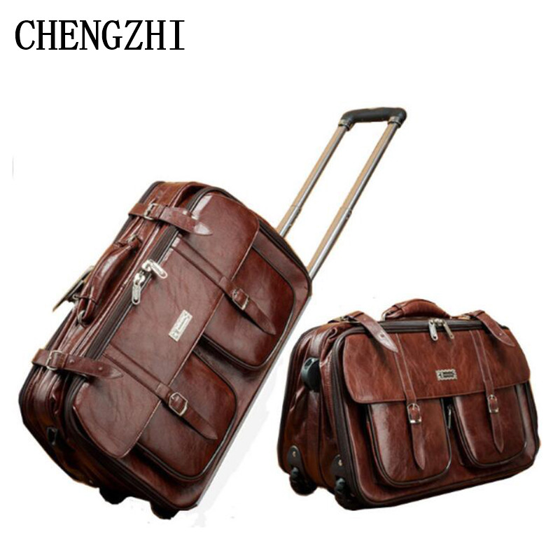 CHENGZHI PU Leather Retro Rolling Luggage Business Men Suitcase Wheels  Cabin Travel Bags
