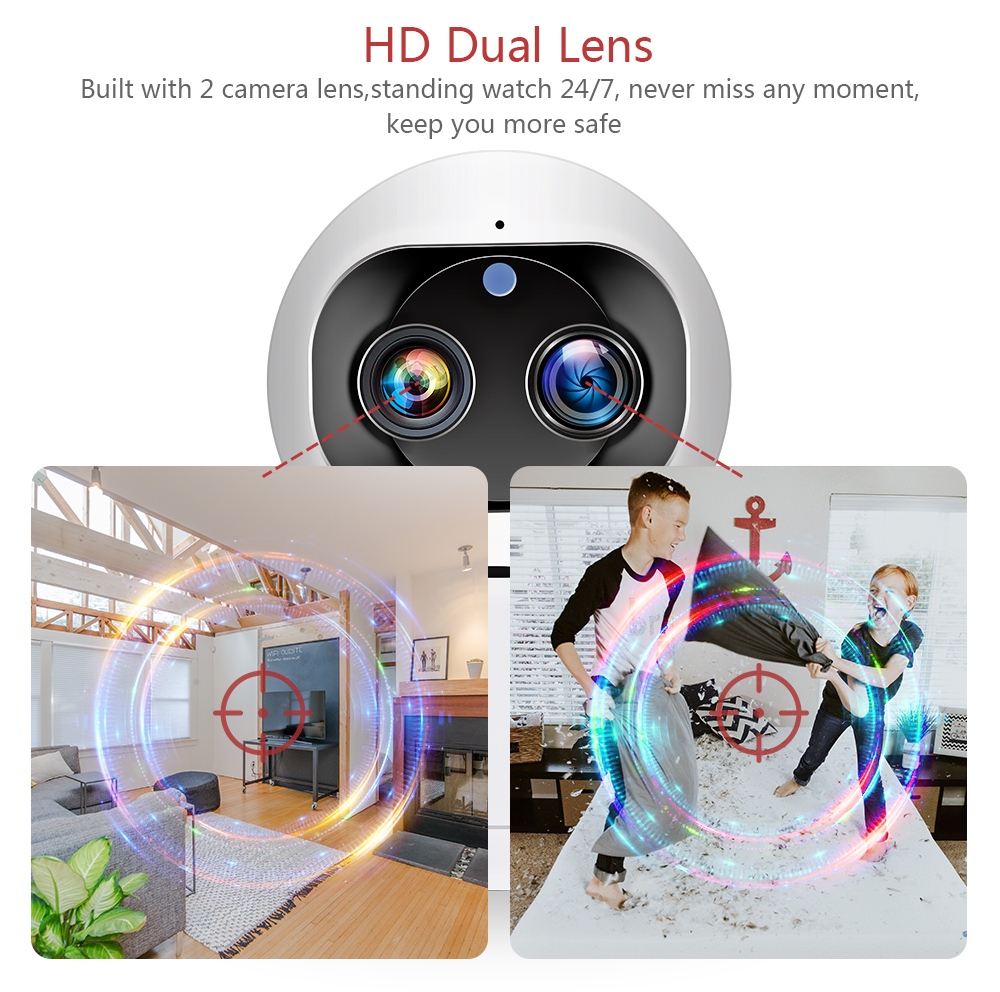 INQMEGA 1080P Dual-Lens Wireless Wifi Camera 2MP Cloud Auto Tracking IP Camera Indoor Home Security Surveillance CCTV Network Ca