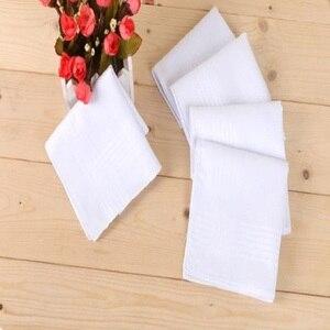 Image 2 - 12 teile/los 100% Baumwolle Solide Weiß Männer Taschentuch Export artikel 40cm * 40cm