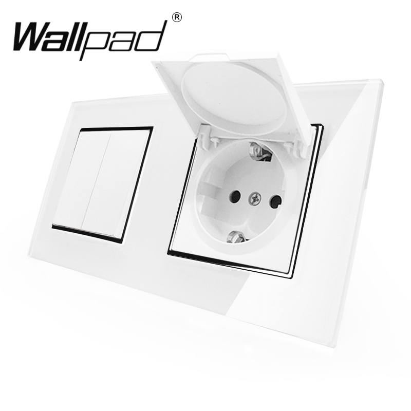 2 Way Light Switch with Cap Socket Wallpad Crystal Glass 110V-250V 2 Gang Switch Dust Cap EU Schuko Wall Socket with Claws Clip2 Way Light Switch with Cap Socket Wallpad Crystal Glass 110V-250V 2 Gang Switch Dust Cap EU Schuko Wall Socket with Claws Clip