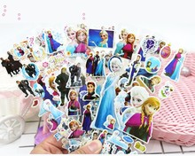 New 12 Sheets/lot 3D Puffy Bubble Stickers Cartoon Frozen DIY For Children Boy Girl Toys PVC Removable Free Shipping