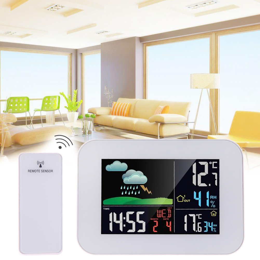 3.7Color LCD Wireless Thermometer Hygrometer Weather Station Forecast Temperature Humidity Tester Clock Alarm Indoor Outdoor free shipping 9 inch lcd screen 100% new for tablet pc display yh090if40h a yh090if40h b yh090if40h