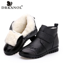 DRKANOL 2019 Women Snow Boots 100% Genuine Leather Natural Wool Fur Winter Warm Ankle