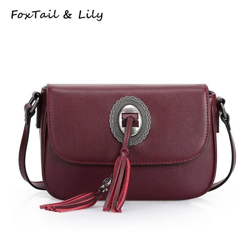 ФОТО FoxTail & Lily Classic Tassel Famous Designer Genuine Leather Bag Women Luxury Small Shoulder Crossbody Vintage Messenger Bags