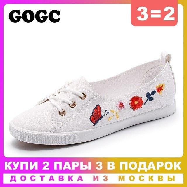 GOGC 2019 Slipony Kadın Ayakkabı Bayan deri ayakkabı Nefes ayakkabı düz ayakkabı Kadın Moda Kadın Sneakers Yaz Autunm 975